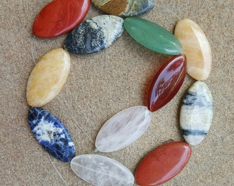 "Natural Mixed Flat Gemstone Focal Beads, 39mm x 20mm - 19"" Strand"