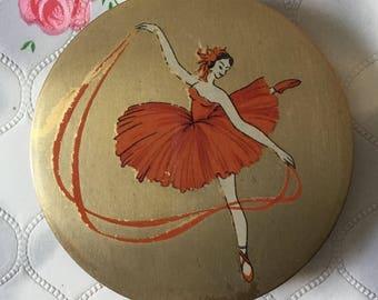 Vintage Stratton ballet compact, red ballerina compact, 1940s vintage compact, 1940s Stratton compact, vintage powder compact, ballet dancer
