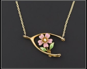 14k Gold Enamel Flower Necklace | Pink Flower Necklace | Lucky Wishbone Necklace | Antique Pin Conversion Necklace