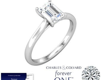 1.01 Carat Moissanite (Forever One) Emerald Cut Solitaire Ring in 14K Gold (with Charles & Colvard authenticity card)