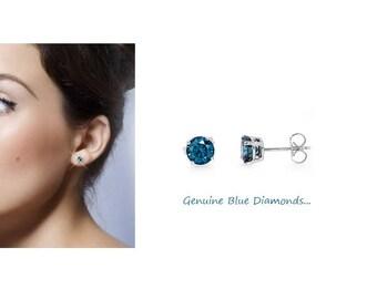 0.25 Carat Genuine Blue Diamond Stud Earrings in 14K Gold