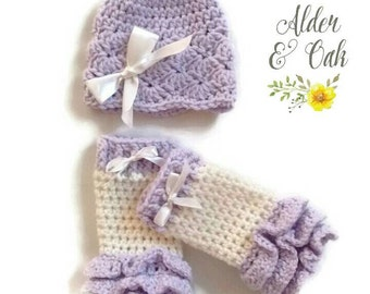 Baby leg warmers (baby leg warmers) (baby photo prop) (newborn gift set) (newborn photo prop) (newborn leg warmers) (purple baby outfit)