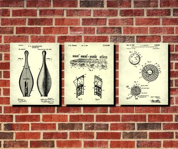 Man Cave Wall Art Uk : Bowling patent prints set man cave decor sports wall art