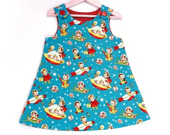 Handmade vintage pinafore dress  baby girl dress  toddler dress  baby girl pinafore  girls pinafore  floral dress  A-line dress