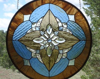 "stained glass window panel,""STAR LIGHT""stained glass window hanging,stained glass suncatcher,beveled glass,beveled round stained glass"
