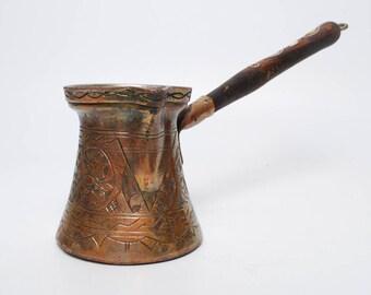 Vintage Copper Turkish Coffee Pot, floral decor (C0051)