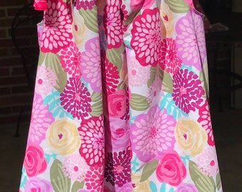 Pillowcase dress, floral, pink, colorful, flowers, summer dress, sun dress, Easter dress, party dress,