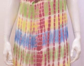Plus Size Festival Boho Hippie Tie Dye Floral Umbrella Tunic Dresa 20 22 24 26