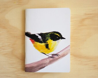 Yellow Bird Notebook / Printed with original illustration of Many-colored Rush-Tyrant