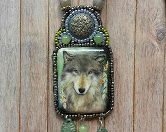 Hand painted wolf, Beaded necklace, Painted pendant, wolf pendant