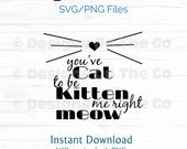 Cat SVG, PNG, You've cat to be kitten me right meow, Instant Download, Vector, Digital File, DIY, Cutting Machine Ready