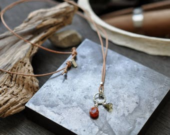 Leather and Stone Necklace - Carnelian and Coffee Quartz