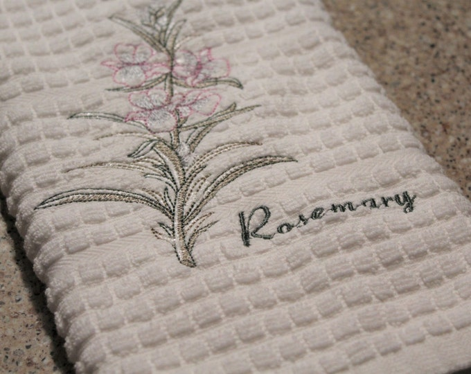 Kitchen towels, Herbs, Housewarming Gift, Home Decor, Embroidered  Towel, Gift for Her
