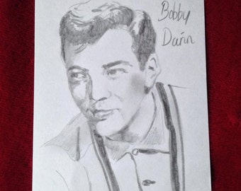 One-Off post card with original pencil drawing of Bobby Darin