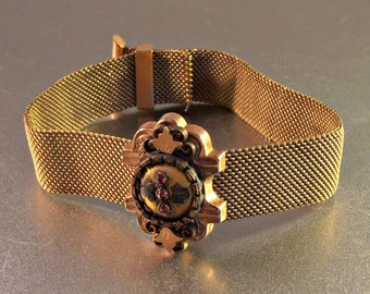 Victorian Mesh Garnet Wedding Bracelet, Etruscan Rose Gold Slide Station, TLC Repair