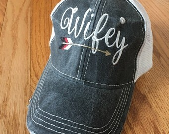 New distressed with white mesh Wifey hats! Trucker style Wifey embroidered with cute arrow below. 4 colors avail! Fun gifts!