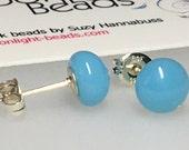 Earrings - Handmade Fused Glass Stud Earrings, Light Blue Glass and Sterling Silver Stud Earrings