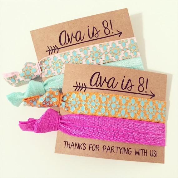 Boho Birthday Party Hair Tie Favors | Wild One Birthday Party Hair Tie Favors, Boho Arrows Aztec Tribal Print Hair Ties, Floral Fox Arrow