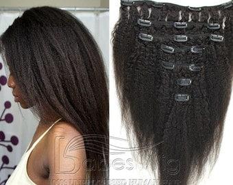 clip in/on human hair extension 100% brazilian hair kinky straight italy coarse yaki virgin hair extensions for black women