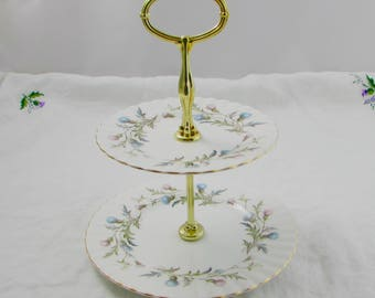 """Royal Albert Cake Stand, """"Brigadoon"""" Thistles, Vintage Bone China, Small Cakestand, Two Tier Cake Stand"""