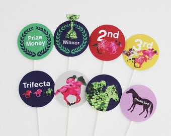 Derby Cupcake Toppers, Derby Cake Topper, Spring Racing Carnival, Kentucky Derby Decorations Printable | INSTANT DOWNLOAD