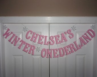 PERSONALIZED WINTER ONEDERLAND Letter Banner Baby Pink & White Cardstock Paper - Snowflake Garland Sign First Birthday Party