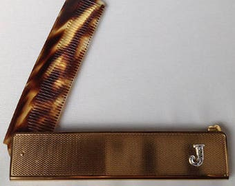 Folding Celluloid Faux Tortoiseshell Comb with Marcasite Monogram Letter 'J'