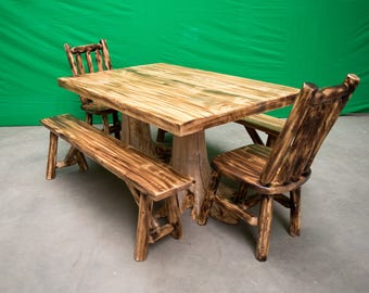 Northern Torched Cedar Log Stump Kitchen/Dining Table - 40x60 Table Only