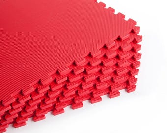 Red eva mats for craft shows with tapered edges and corners
