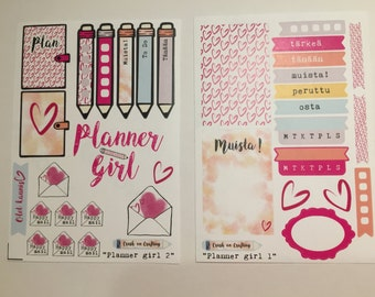 PLANNER GIRL stickers (some in Finnish) - design by Heli
