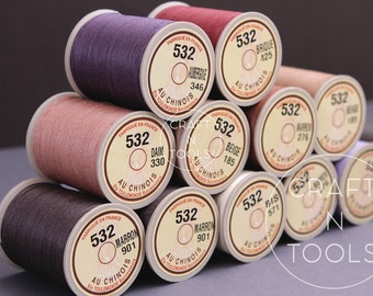 Lin Cable Sajou/Waxed Linen Thread #532 0.57mm in 31 colors/Fil au Chinois/Thread for Leather/Waxed Linen Thread/Corded Thread