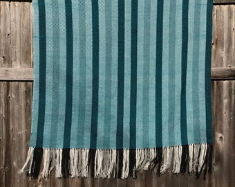 Handwoven Teal Wool Throw with stripes