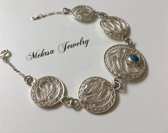 Silver Filigree Bracelet with Turquoise stone