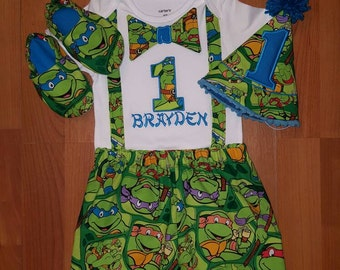 NINJA TURTLE SmaSh CaKe Set, Blue, Leonardo, TMNT First Birthday outfit, photo op, Boys birthday, Personalized, Party hat, shoes, suspenders