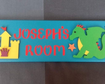 Dragon Knights Castle Personalised Door Name Sign Name Plaque. Any Name/Names, Any colours. Bedroom Sign Boys room Decor Dragons Sign