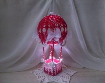 night light crochet baby. lighting bedroom. Unusual night light in the nursery. Crochet lamp, crochet ball, air balloon, gift  child