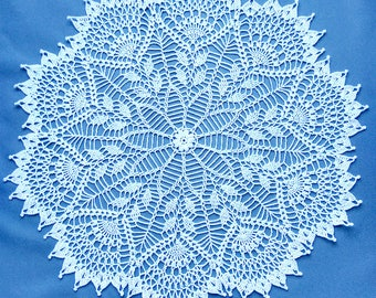 Crochet doily, openwork knitted doily, large doily. Round crochet centerpiece. White elegant crochet doily. Tablecloth crocheted lace doily