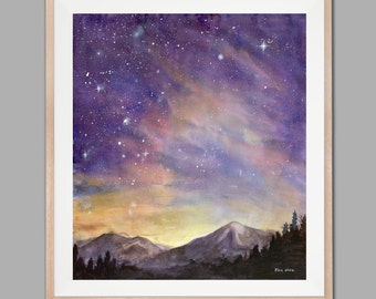 Watercolor Painting Print, Starry Sky, Starry Night Painting Print, Watercolor Sky, Landscape painting