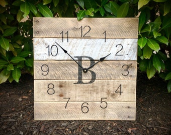 "Large Monogrammed Reclaimed Wood Clock - ""Standard Time"" (18"" x 18"") w/ white stripe - Pallet Wood. Wedding. Housewarming Gift. Anniversary."