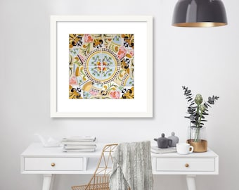Spanish Tile Wall Art, Floral, Mosaic, Girls Room Decor, Pastel, blue, pink, yellow, Barcelona, Spain, Photography Print, Gaudi, Parc Guell