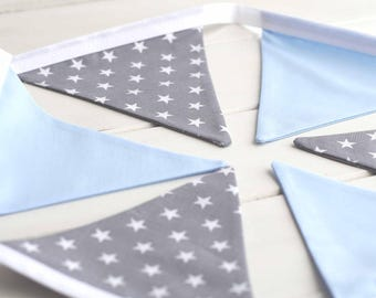 Blue and Grey Star Bunting