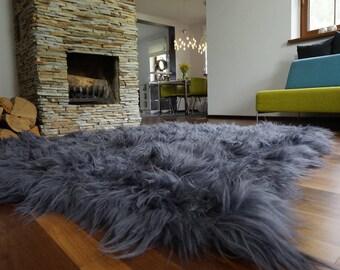 Big SALE!!! Big Rug Dimension Genuine leather Sheep Skin Decorative rug Grey comfy, cozy, Natural very thic!