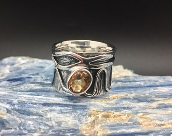 Wide Band Citrine Ring // 925 Sterling Silver // Etched Oxidized Setting // Designer Citrine Ring // Size 9