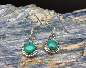 Turquoise Earrings // Sterling Turquoise Earrings // 925 Sterling Silver // Round Beaded Setting // Turquoise Earrings