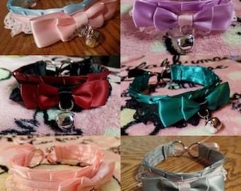 Custom Made to Order Kitten Play Collar - Day Collar - BDSM Collar - DDLG Collar - Ribbon Collar - Pet Play Collar