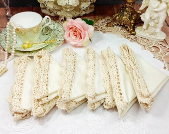 6 Piece Vintage All Around The Border Crochet Lace 100% Cotton Beige Dinner Napkin For Tea Party, Weddings, Bridal Baby Shower, Party