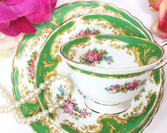 "22 Piece Tuscan ""Naples"" Green Floral English Tea Set Cup, Saucer, Plate Trio For Tea Party, Wedding, Tea Time #A435"