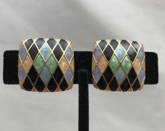 Vintage Bob Mackie Clip Earrings. Multi Color Gold Tone Enameled Harlequin. Designer Signed QVC. Collectible. Designer. Couture. Valentine