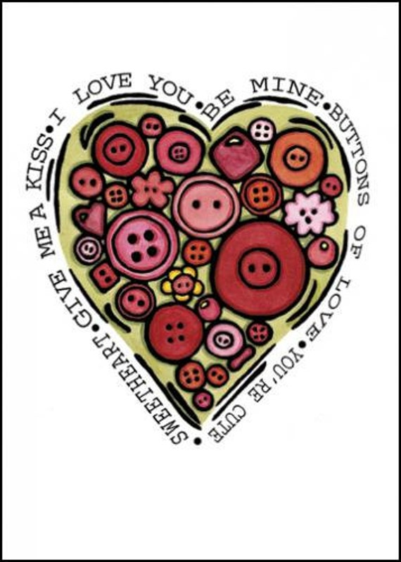 Buttons of Love - Single Blank Sarah Angst Greeting Card - Valentines