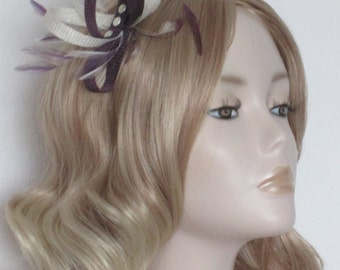 EMPEROR PURPLE and IVORY Fascinator, Made of Sinamay, stripped hackle feathers, Three pearl domes, on a comb